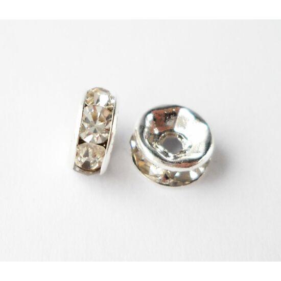 Strasszos köztes átlátszó kövekkel 6mm ezüst-Nikkelmentes!