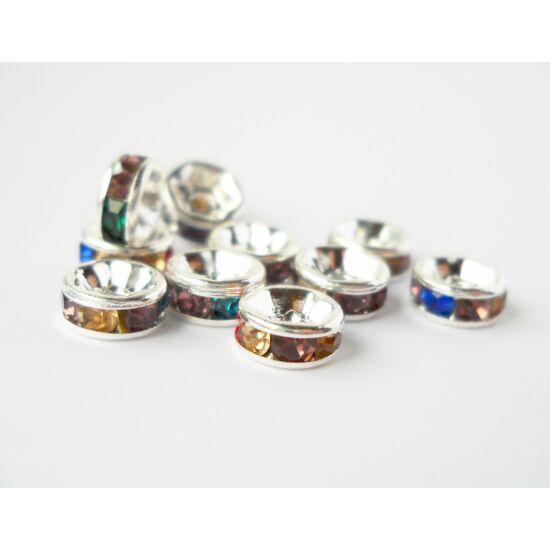 Strasszos köztes vegyes kövekkel 6mm ezüst