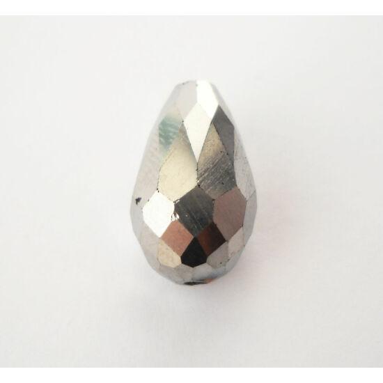 Metál csepp üveggyöngy 15x10mm ezüst