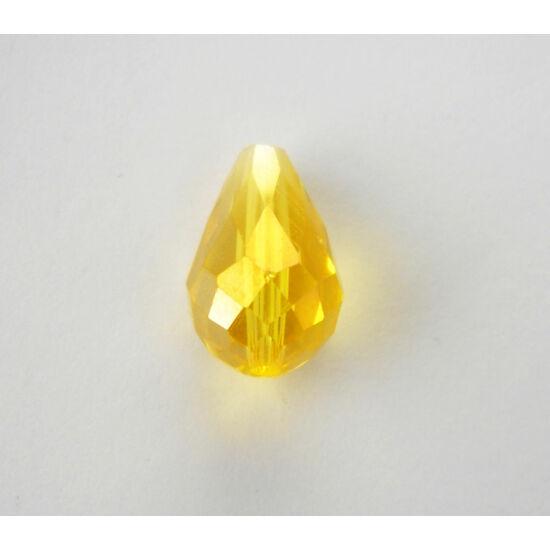 Színjátszós csiszolt csepp üveggyöngy 15x10mm sárga