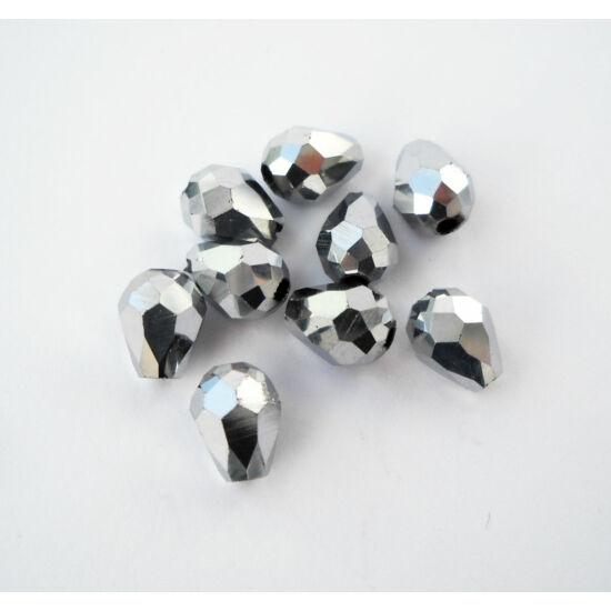 Metál csepp üveggyöngy 8x6mm ezüst