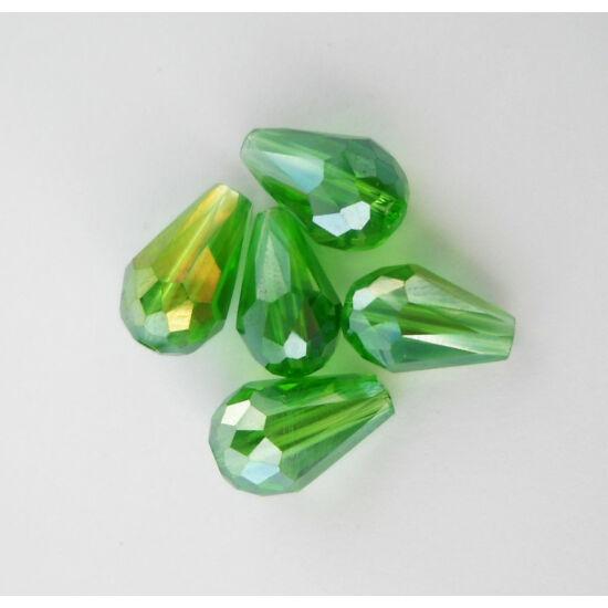 Színjátszós csiszolt csepp üveggyöngy 11x8mm zöld