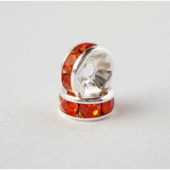 Strasszos köztes narancs kövekkel 7mm ezüst