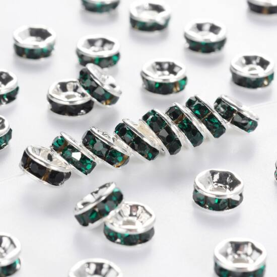 Strasszos köztes smaragd színű kövekkel 6mm ezüst