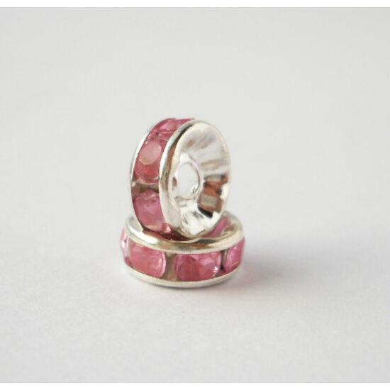 Strasszos köztes rózsaszín kövekkel 8mm ezüst