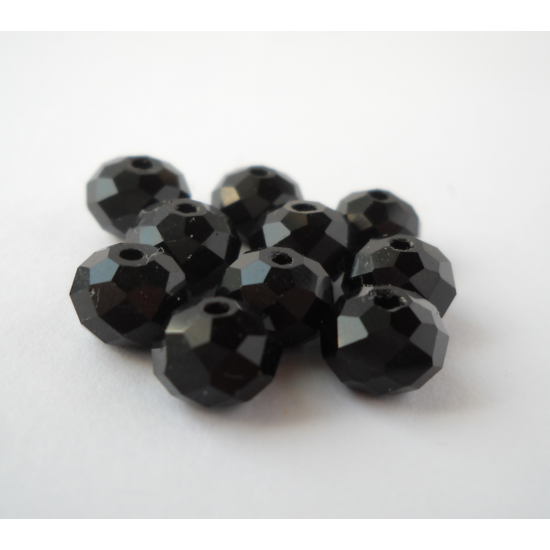 Abacus gyöngy 8x6mm fekete 10db