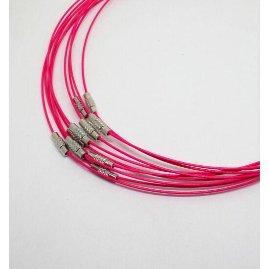 Merev acélsodrony nyaklánc alap pink