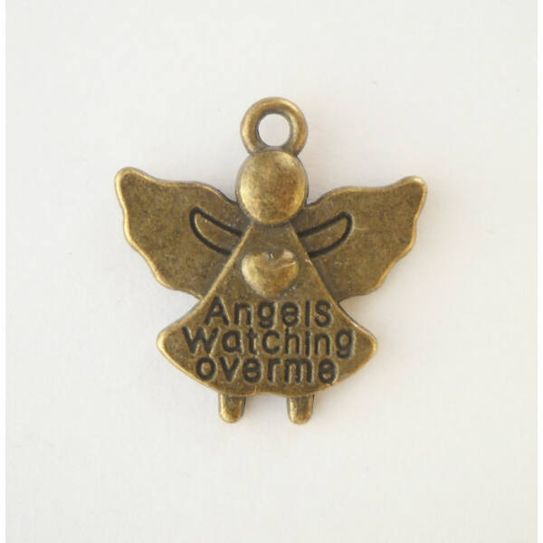 Védőangyal charm bronz -Nikkelmentes