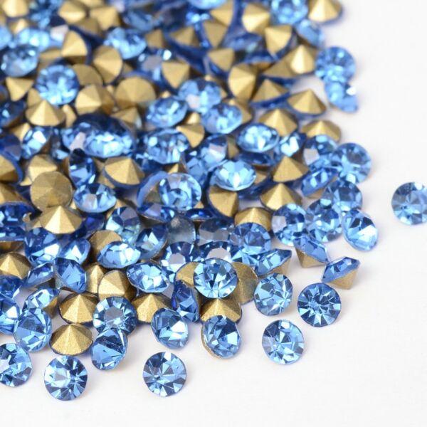 Kúpos strassz 2,3-2,4mm light sapphire 100db