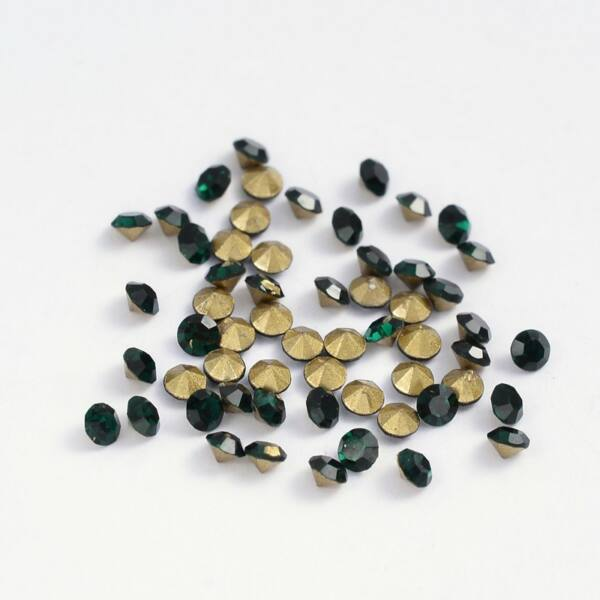 Kúpos strassz 2,3-2,4mm smaragd 100db