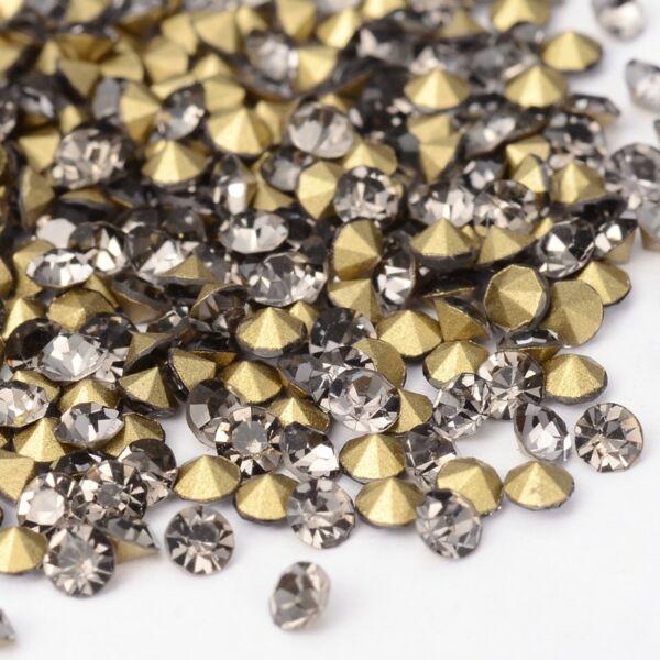 Kúpos strassz 2,3-2,4mm black diamond 100db