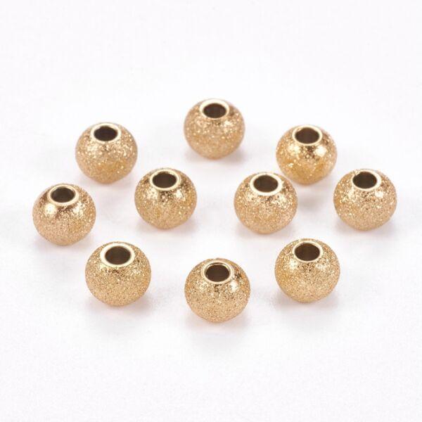 Stardust nemesacél gömb gyöngy arany 6mm