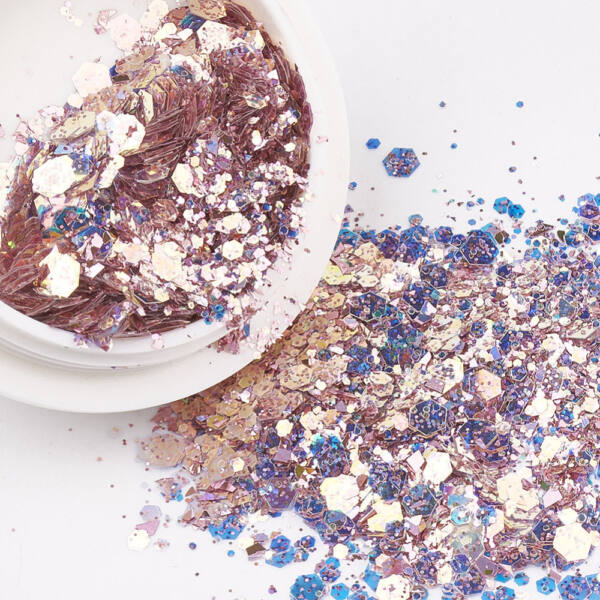 Lazac-kék hatszög glitter