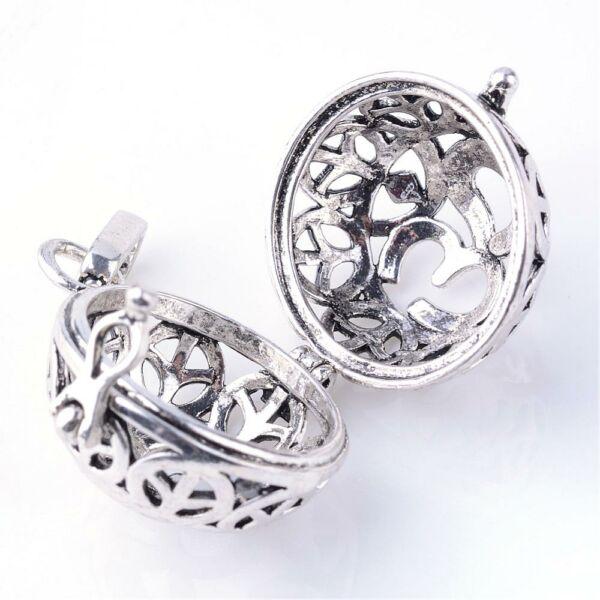 Angyalhívó Om jellel antikolt ezüst színű