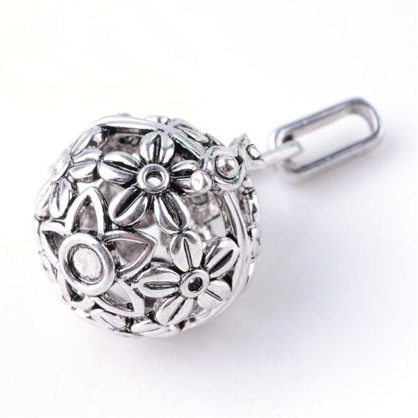 Virágos angyalhívó antikolt ezüst színű