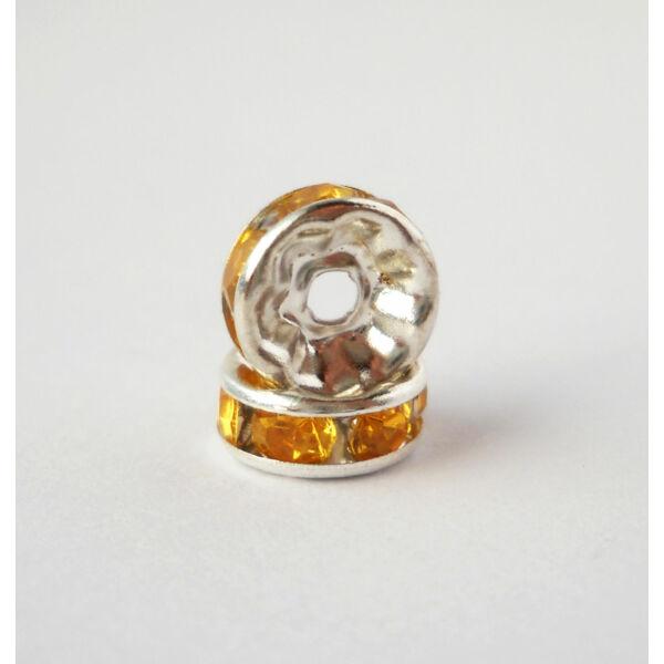 Strasszos köztes méz kövekkel 8mm ezüst