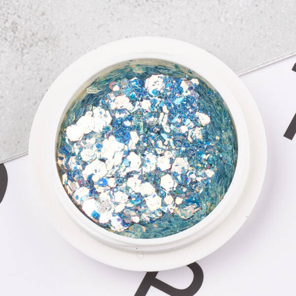 Türkiz-lazac hatszög glitter
