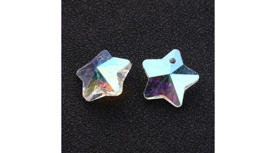 f18c62690 Színjátszós csillag gyöngy 13mm átlátszó 1db