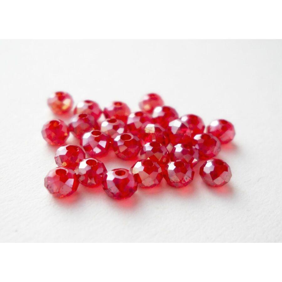 Színjátszós abacus gyöngy 3x2mm piros 25db