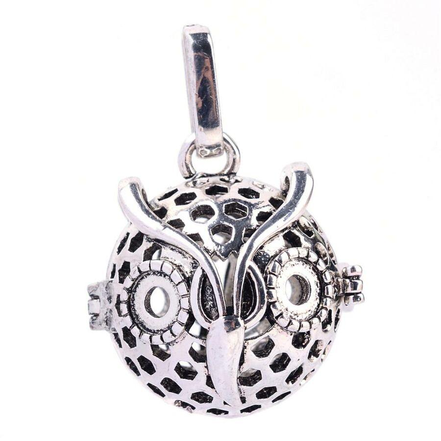Bagolyfej angyalhívó antikolt ezüst színű