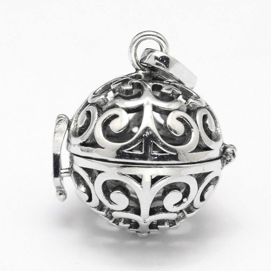 Díszes angyalhívó antik ezüst színű-Nikkelmentes!