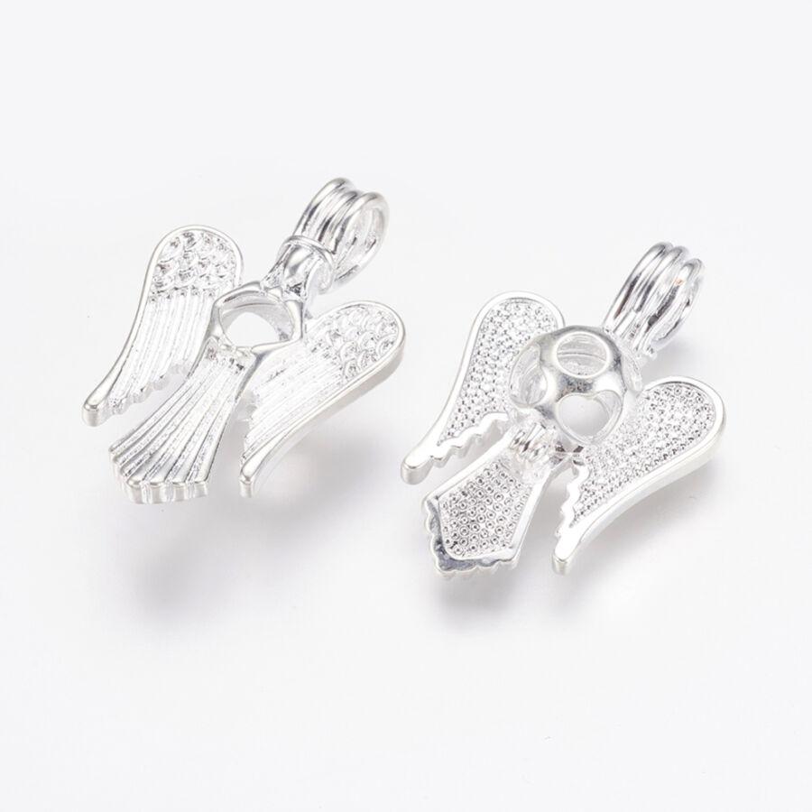 Angyal aromaterápiás medál ezüst színű