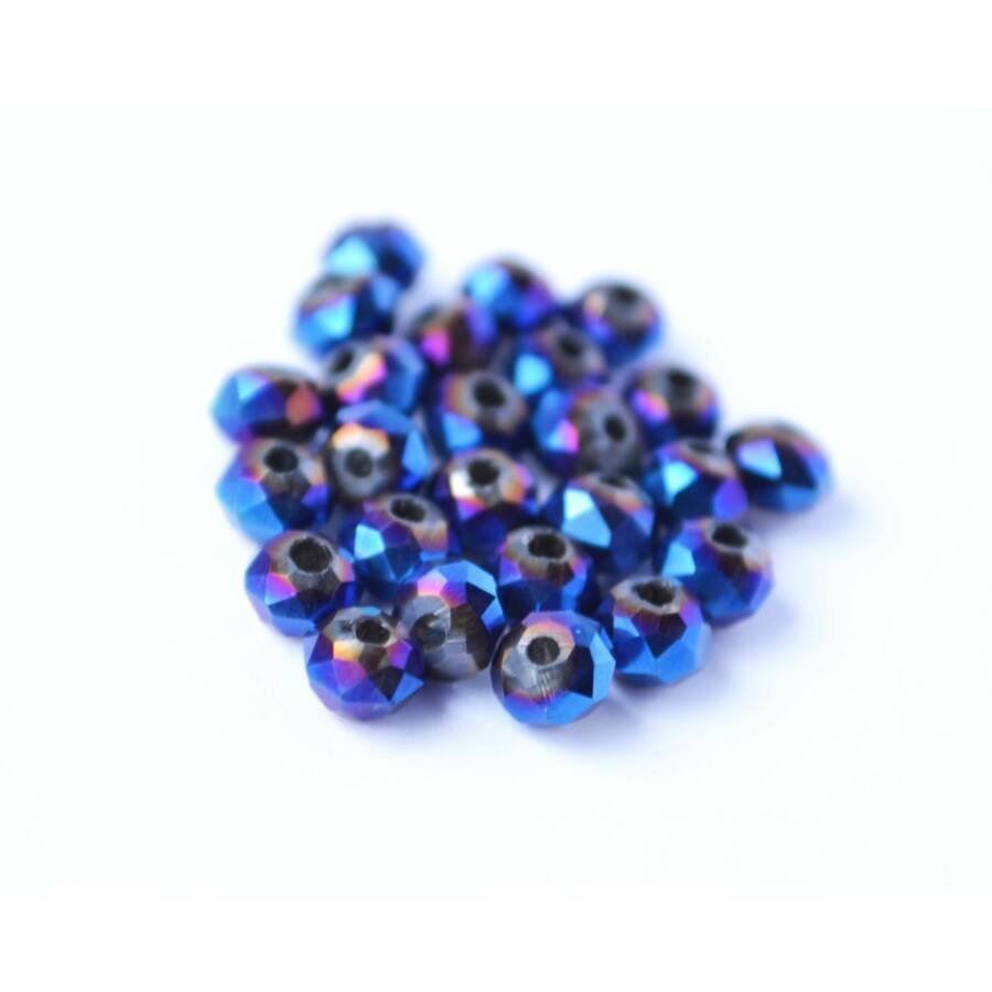 Metál abacus gyöngy 4x3mm 25db kék