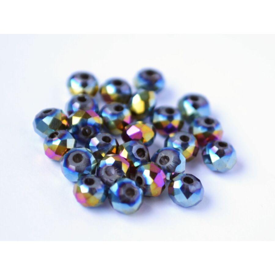Metál abacus gyöngy 4x3mm 25db színjátszó