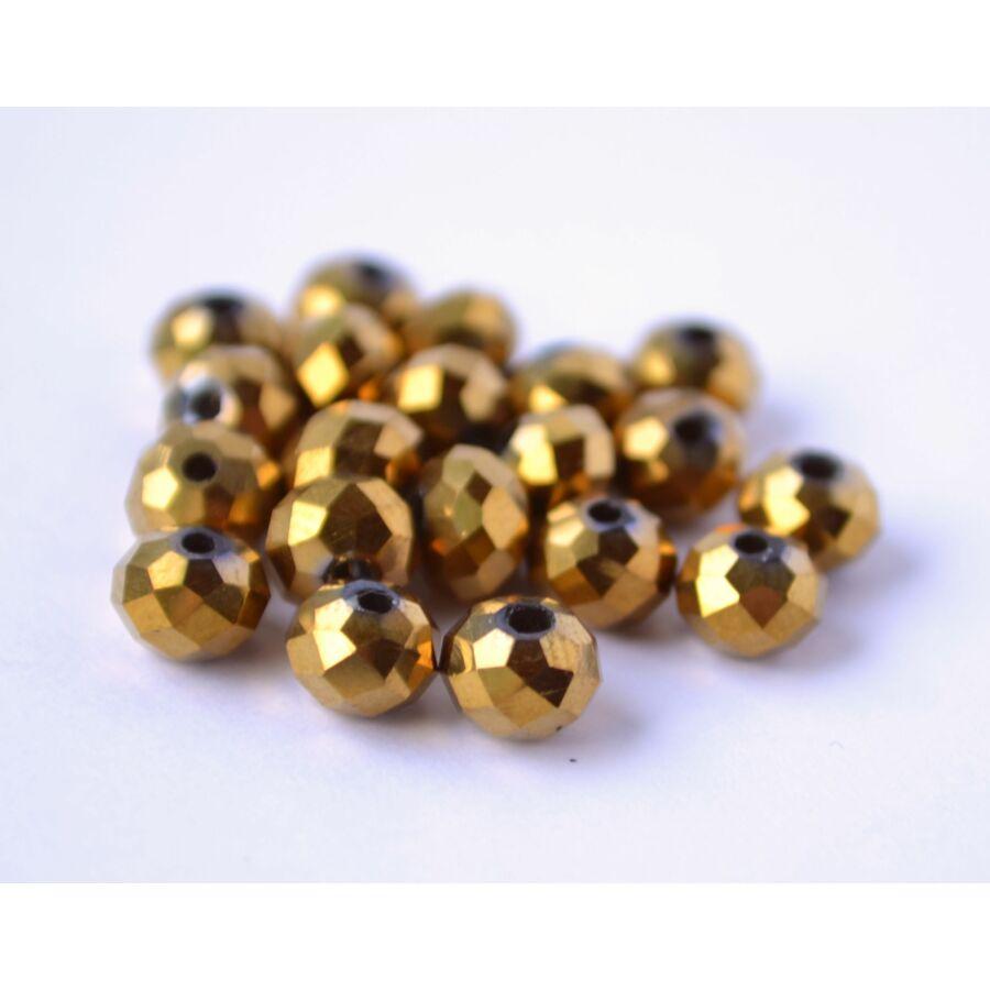 Metál abacus gyöngy 6x4mm 20db arany