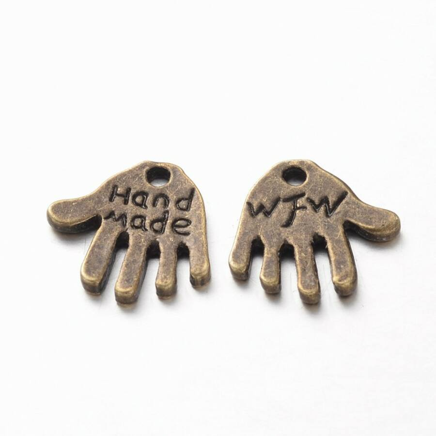 Handmade feliratos kéz charm bronz-Nikkelmentes