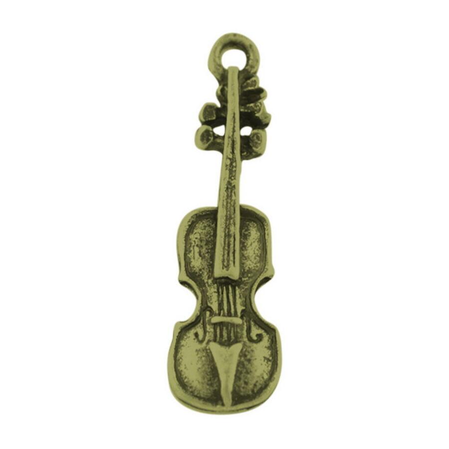 Hegedű charm bronz