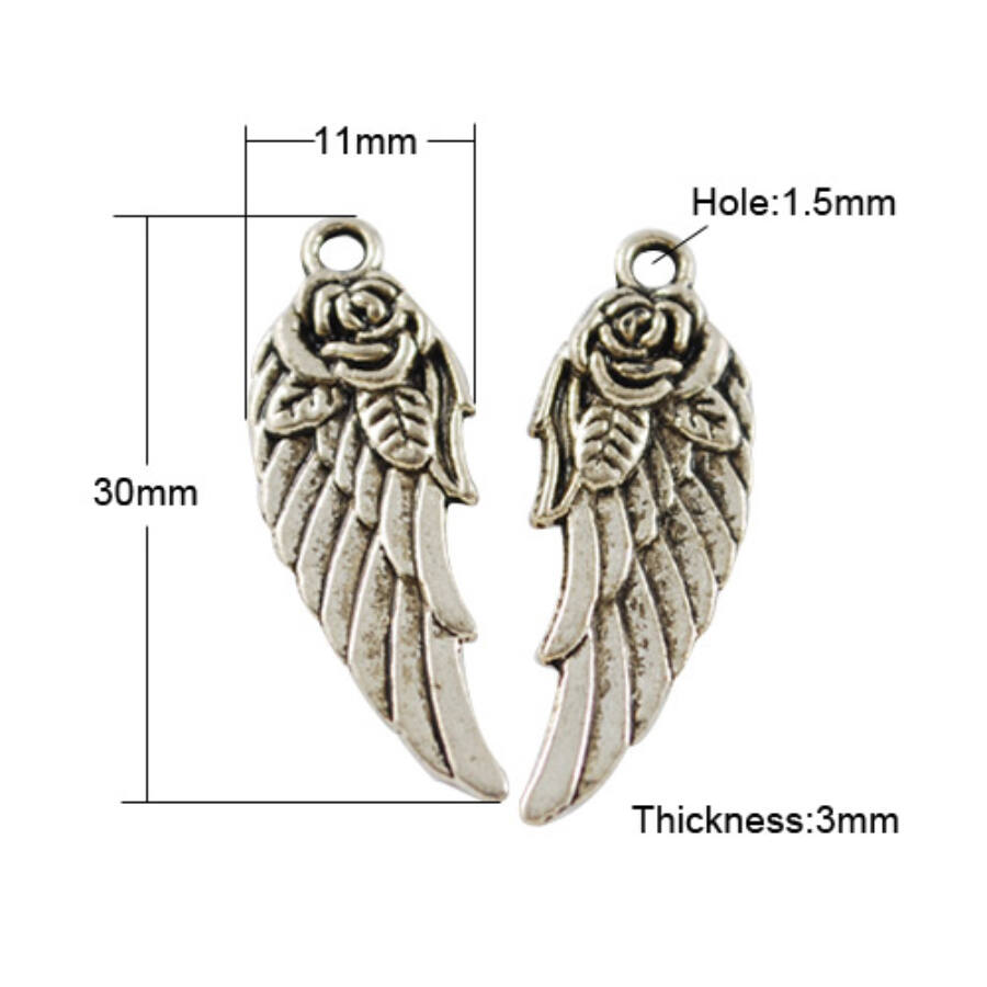 Rózsás szárny charm ezüst