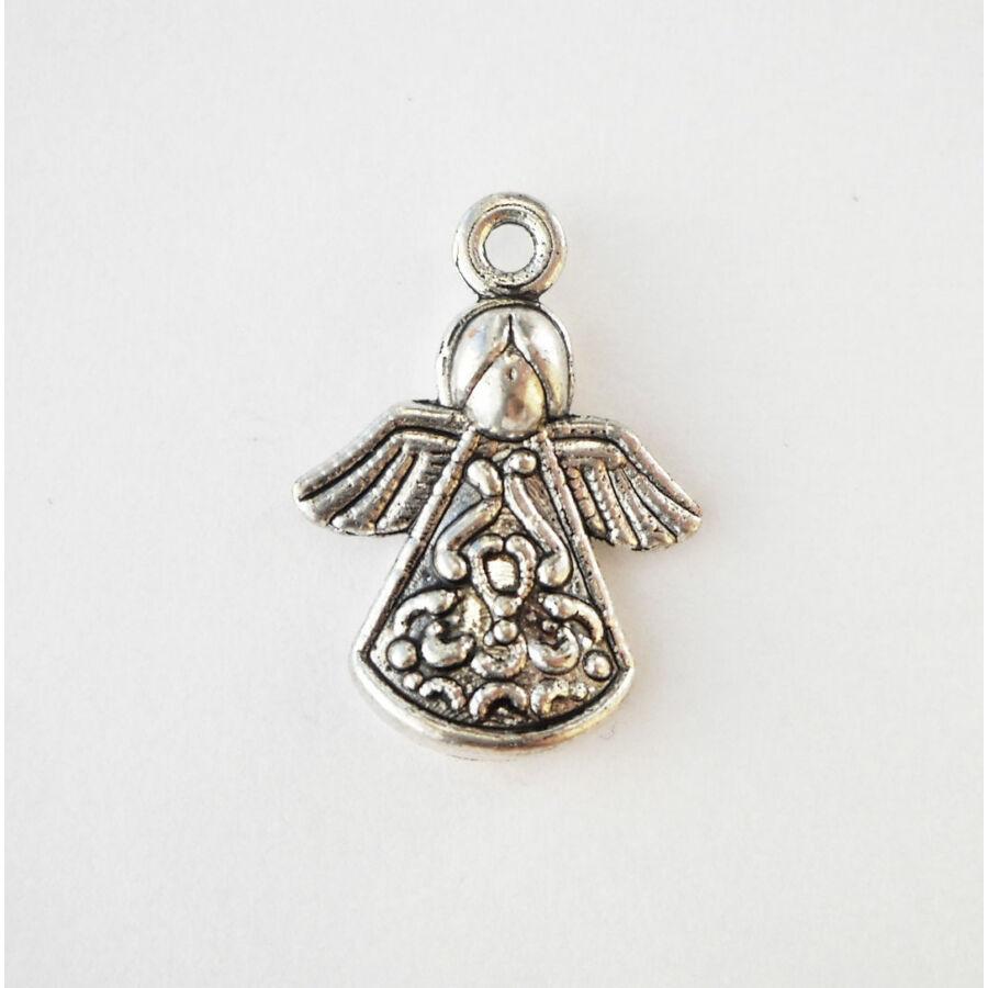 Mintás ruhájú angyal vékony ezüst