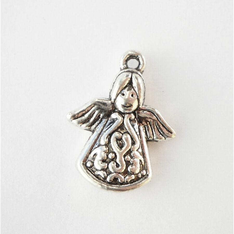 Mintás ruhájú angyal vastag ezüst