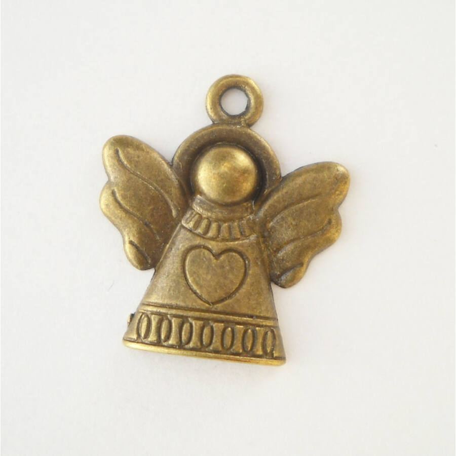 Szív mintás angyal charm bronz -Nikkelmentes