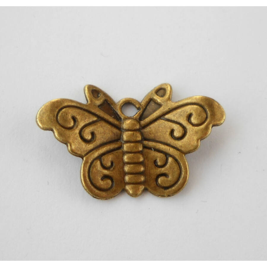 Vésett 3D-s lepke charm bronz-Nikkelmentes!