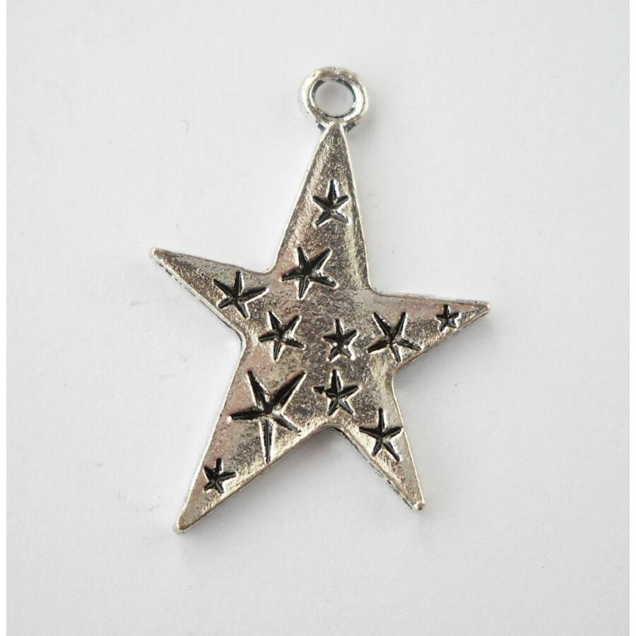Vésett csillag charm ezüst