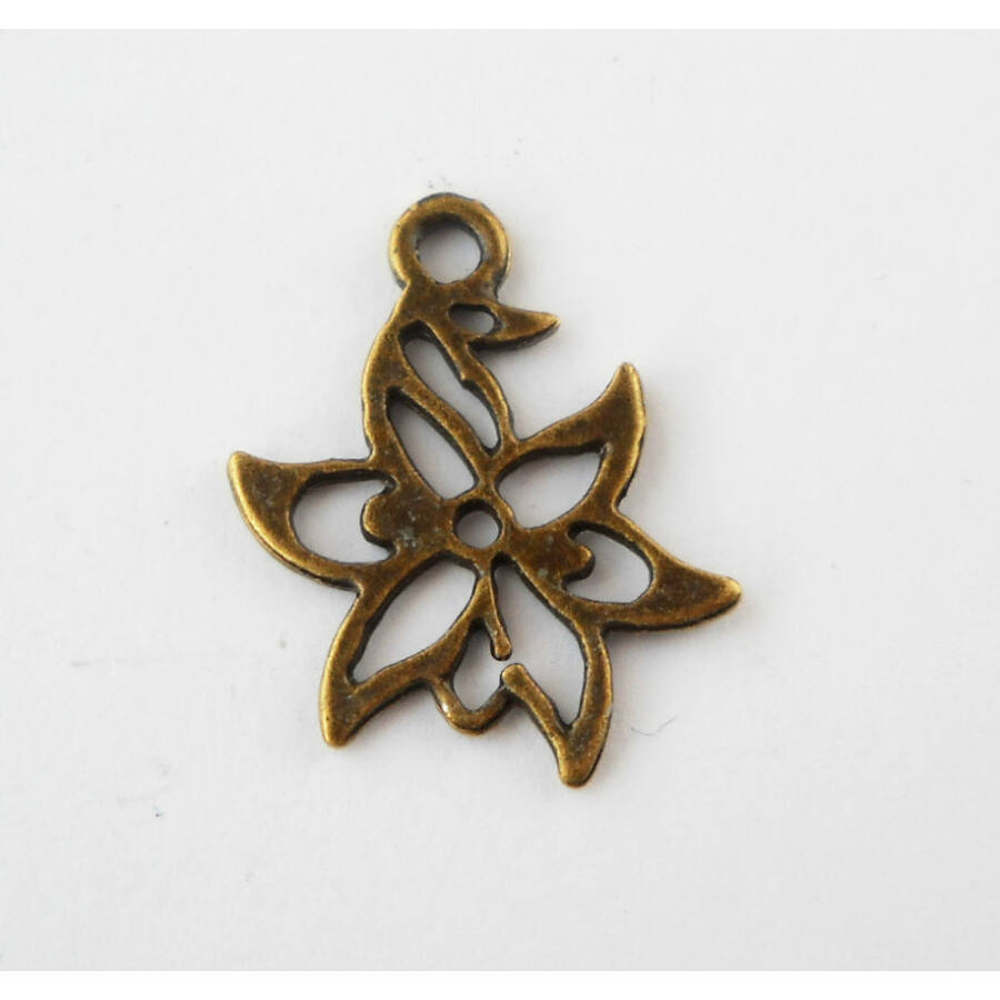 Áttört virág charm bronz-Nikkelmentes!