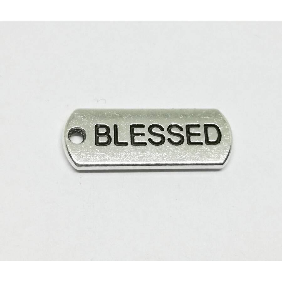 Biléta charm ezüst-Blessed