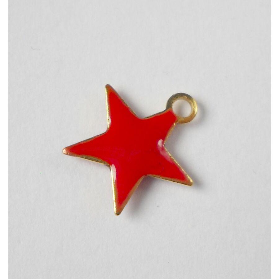Piros csillag zománcos charm