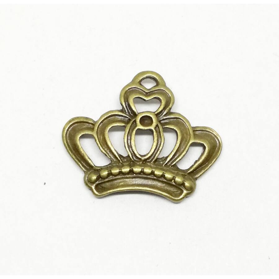 Korona charm bronz