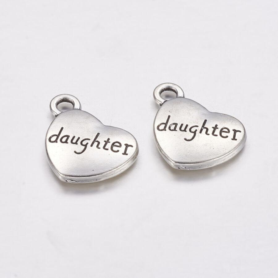 Antikolt ezüst szív charm daughter felirattal