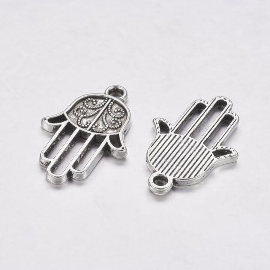 Antikolt ezüst Hamsa kéz charm