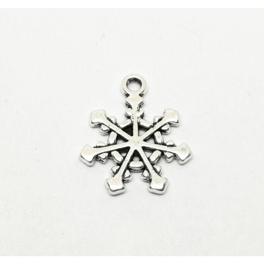 Díszes hópehely charm ezüst