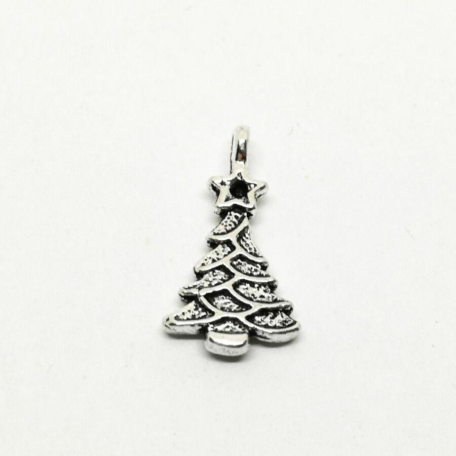 Strasszal díszíthető karácsonyfa charm ezüst