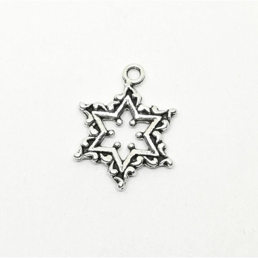 Díszes csillag charm ezüst