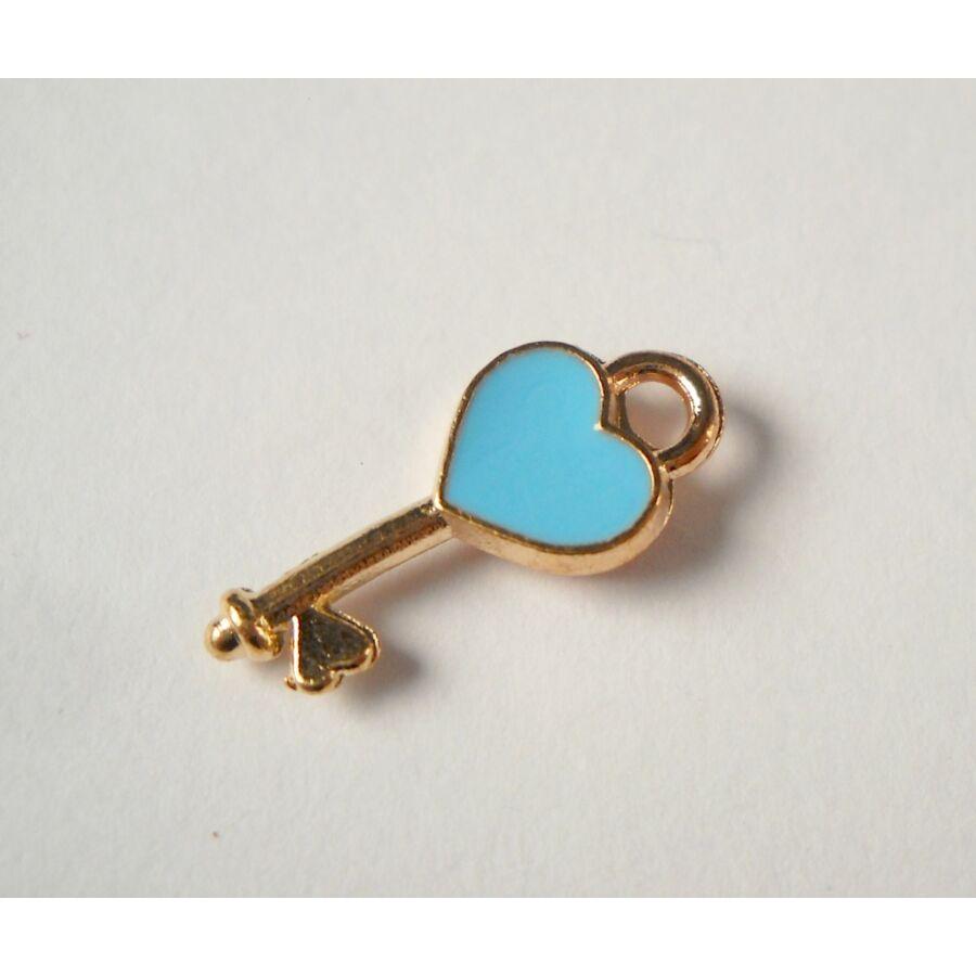 Kék kulcs zománcos charm