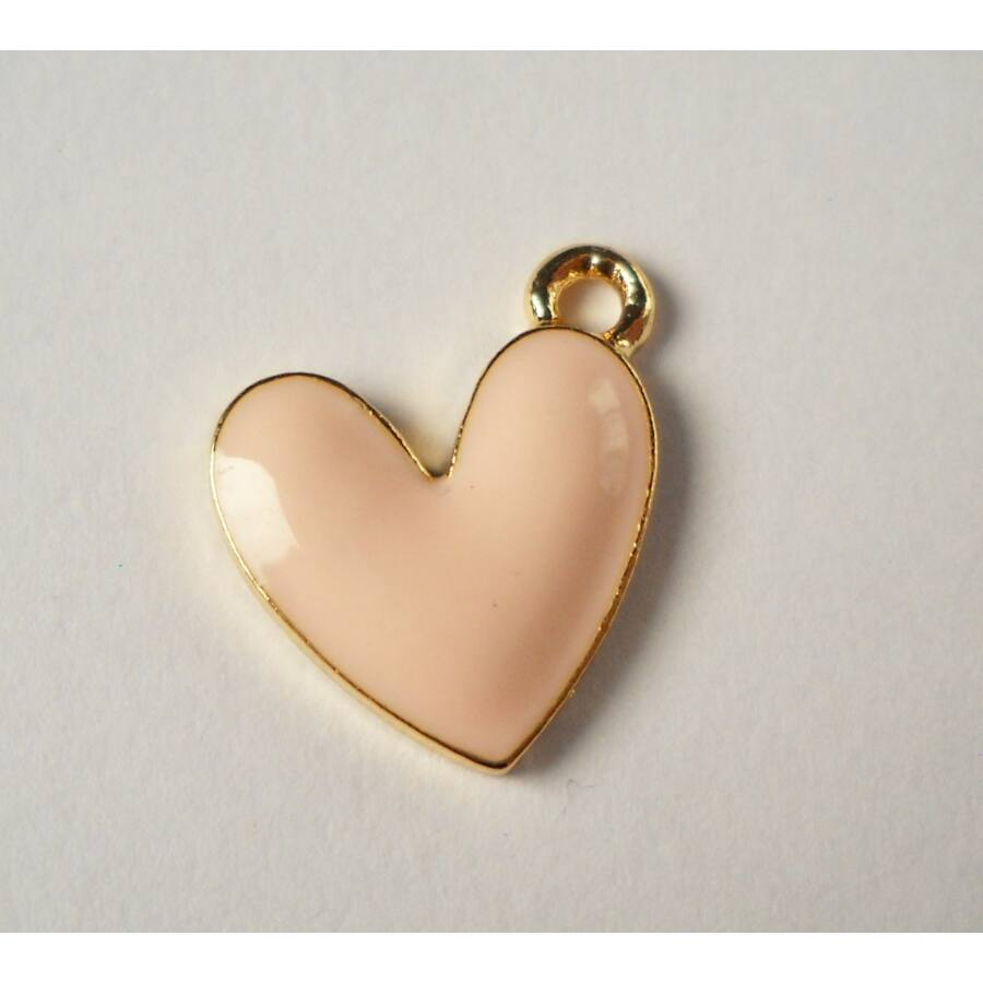 Rózsaszín szív zománcos charm-Nikkelmentes!