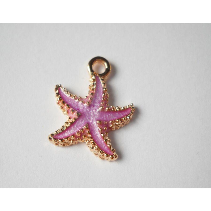 Lila tengeri csillag zománcos charm