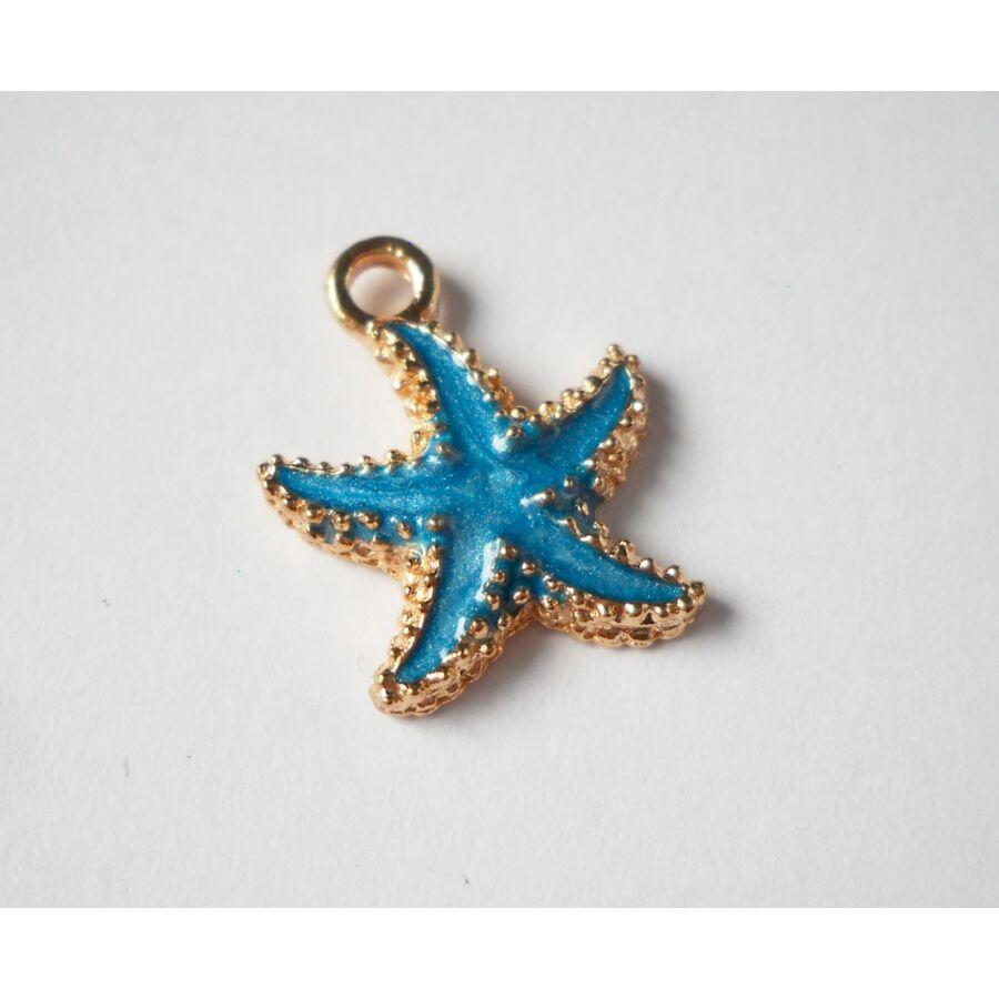 Kék tengeri csillag zománcos charm